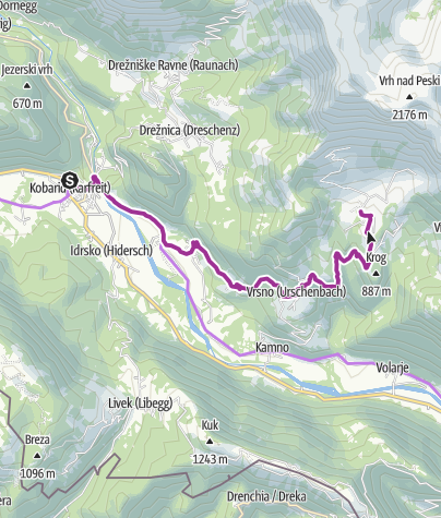 Map / Cycling from Kobarid to the Kuhinja Mountain pasture