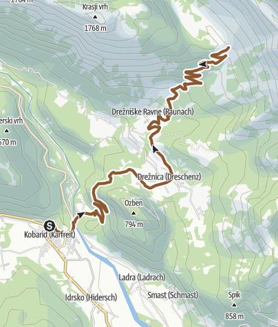 Map / Cycling to the Zaprikraj Mountain pasture
