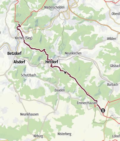 Karte / Siegerland-Höhenring Etappe 3: Burbach/Lippe - Freusburg