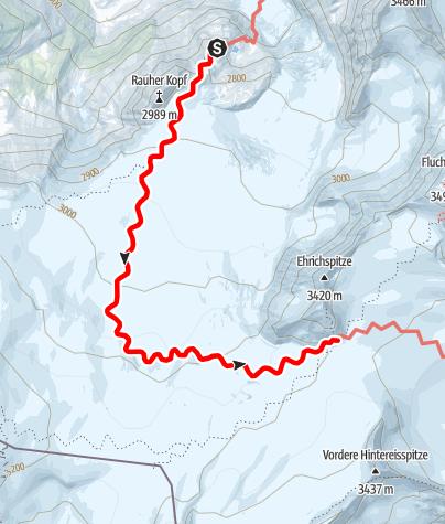 Kaart / Übergang Rauhekopfhütte zum Brandenburger Haus