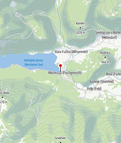 Map / Turistična ladja na Bohinjskem jezeru - vstopna postaja Ribčev Laz