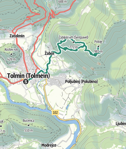 Map / Ascent on Mt. Tolminski Triglav (1141 m) via Mt. Zabijski vrh (775 m)