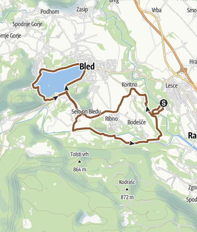 Map / From Camping Šobec to Lake Bled on a mountain bike