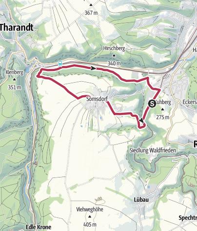 Karte / Rundweg von Hainsberg über die Somsdorfer Klamm nach Tharandt