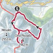 Map / Durch das Val Setus zur Cima Pisciadù