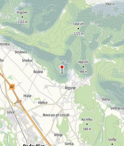 Map / The church of St. Peter above Begunje na Gorenjskem