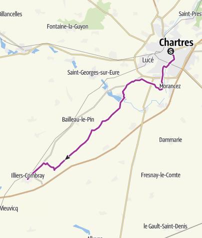 Carte / La Véloscénie : Chartres / Illiers-Combray