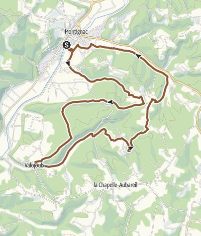 Carte / Parcours VTT n°12: Montignac – Valojoulx