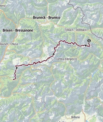 Map / Von Sexten zum Karerpass - Gesamtstrecke