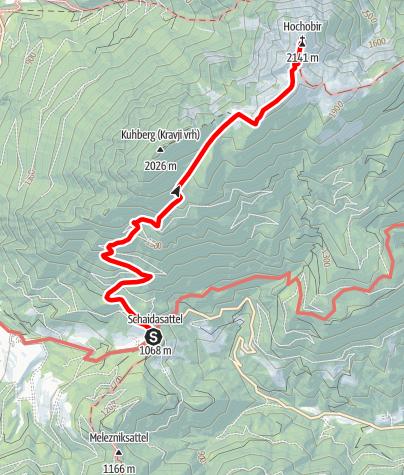 Karte / Wandern am Panoramaweg Südalpen - Hochobir vom Schaidasattel aus
