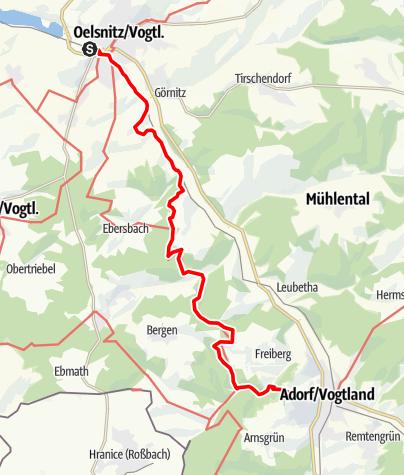 Mapa / Von Oelsnitz nach Adorf