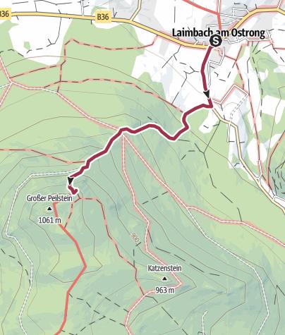 Karte / Peilstein Gipfelerlebnis Laimbach - anspruchsvolle Strecke