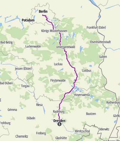 Karte / Radweg Berlin-Dresden