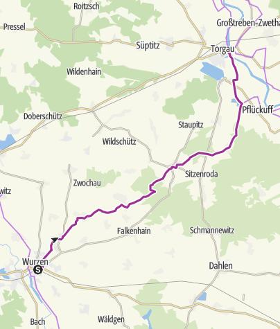 Karte / Dahlener Heide-Radroute - Von der Rolandstadt zu den Hohburger Bergen