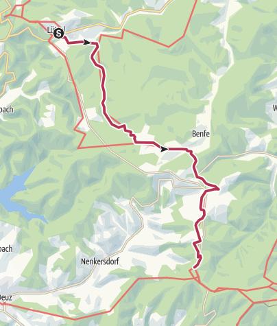 Karte / Rothaarsteig 6. Etappe: Von Lützel zum Lahnhof