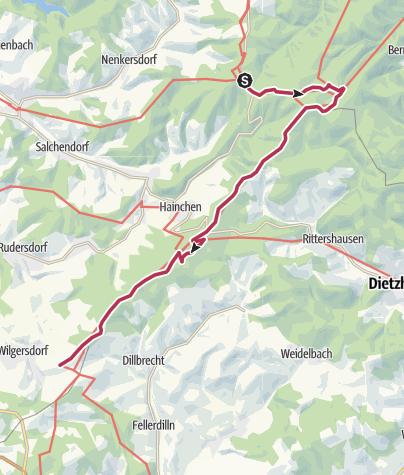 Kaart / Rothaarsteig 7. Etappe: Vom Lahnhof bis nach Wilgersdorf