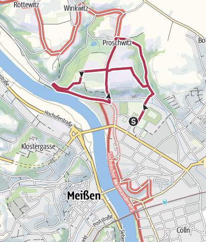 Karte / Nordic Walking Weinstrecke in Meißen