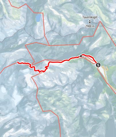 Kaart / Neue Prager Hütte - Zustieg über Gletscherlehrpfad Innergschlöß