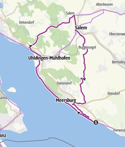 Karte / Von Hagnau nach Salem und zurück (Westroute)